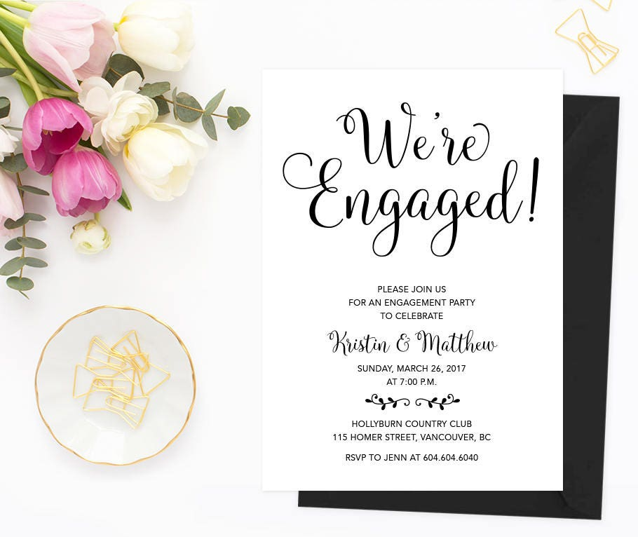 Engagement Invitation Printable Engagement Party Invitation