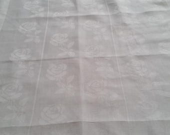White Linen Curtains, Designer Linen curtains, Kitchen window curtains,  Cafe Curtains,  White Falling Rose Curtain, Drapes, Window Curtain