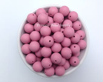 Silicone Beads, 15mm Dusty Rose Silicone Beads, Silicone Teething Beads,  Silicone Beads Wholesale, Sensory Beads, Teething Beads