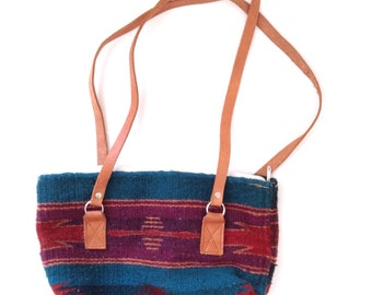 70's market bag. Vintage woven wool and leather tote bag.