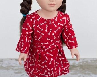 Red Arrow Long Sleeve Doll Dress, Handmade 18 Inch Doll Dress, Pretty Doll Dress, Valentine's Doll Dress, White Arrow Doll Dress,