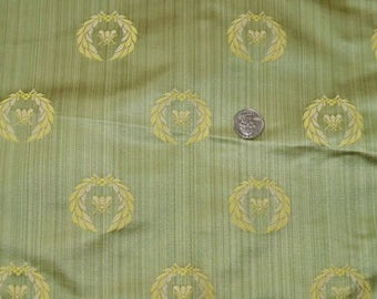 STUNNING NEOCLASSICAL BEE Strie Silk Damask Fabric 10 Yards Celadon Gold