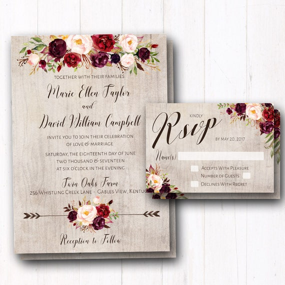 BURGUNDY & WINE BOHO COLLECTION This beautifully rustic design collection