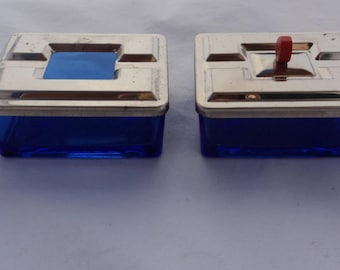 Vintage Art Deco Cobalt Blue Glass Cigarette Box and Ashtray with Covers