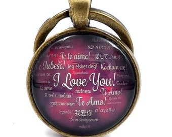 Antique Bronze Effect I Love You Multi Lingual Glass Cabochon Keychain