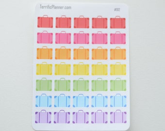 35 suitcase Travel Stickers  Perfect for planners like Erin Condren, Plum Paper, Filofax, Limelife, Mambi, Happy Planner and more #012