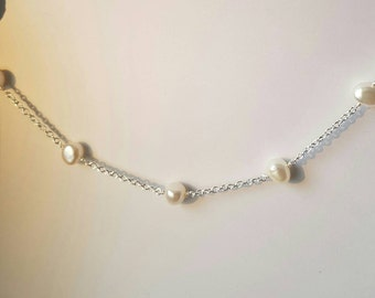 Pearl station necklace. Pearl and chain necklace. Cultured freshwater pearl and chain  necklace.  Bridal jewellery, bridesmaid gift.