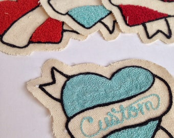 Custom chenille heart patch