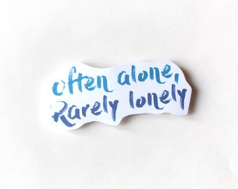 Introvert sticker, Lonely, Cute Cool Laptop Sticker, Typography Illustration