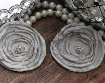 """SET OF TWO - 3"""" Gray / Grey / Silver Layered Burned Edge Satin Flowers - Metal Crystal Center Accent- Hair Accessories- Wedding - TheFabFind"""