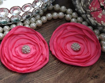 "SET OF TWO - 3"" Hot Pink Layered Burned Edge Satin Flowers - Metal Crystal Center Accent- Hair Accessories- Wedding - TheFabFind"