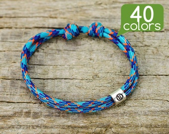 Mens friendship bracelets - Friendship bracelets for men with silver plated tube. Minimalistic design, easy to use, 40 colors to choose!