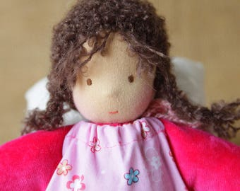 Waldorf inspired baby doll girl pink about 10 inch in an overalls steiner cloth fabric textile handmade doll toy gift dark hair