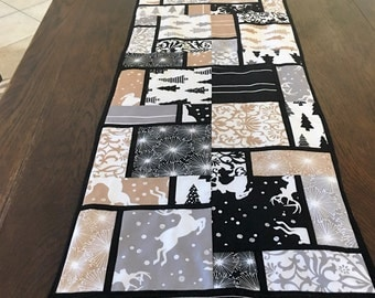 Christmas Table Runner Black White and Tan REDUCED