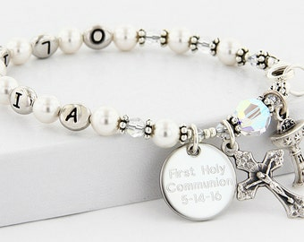 Communion Bracelet with Name, Communion Gift, Communion Jewelry, Rosary Bracelet, Girl Communion, Name Rosary, Engraved Rosary, BrComNameWC4
