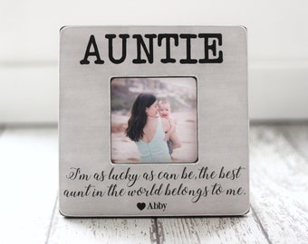 Christmas Gift for Aunt Auntie 'As Lucky As Can Be The Best Aunt' Quote Personalized Picture Frame