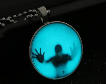Glow in the Dark Pendant, Halloween Necklace Pendant, Glowing Pendant