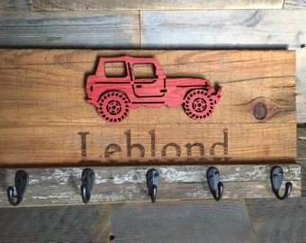 Custom layered, laser engraved, handcrafted Jeep coat hook key hook