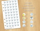 50 Mini  Weather Watercolor Stickers - Perfectly Fitting Planners like Kikki.k Medium or Filofax Personal - Illustration On Demand