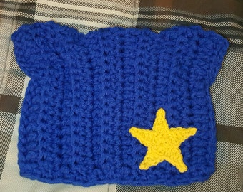 EuroCat Hats, Blue kitty hats, Blue hat with gold star