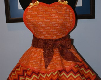 "THANKSGIVING ""GOBBLE-GOBBLE"" Hostess Full Sweetheart Apron with Three Layer Flounced Skirt"