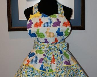 "EASTER ""BUNNIES"" 3 Layer Flounce Full Sweetheart Hostess Apron - Handmade!"