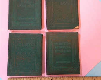 "Antique set of 4 Little Leather Library books. Each measures 4"" x 3"". #677"