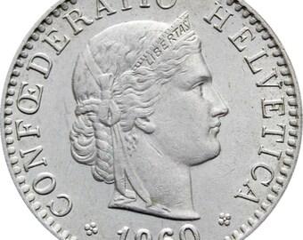 1960 Switzerland 20 Rappen Coin
