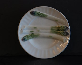6 vintage French majolica asparagus plates Keller Guerin  Luneville. Very good condition. French barbotine. Price for 1. Can buy 10.