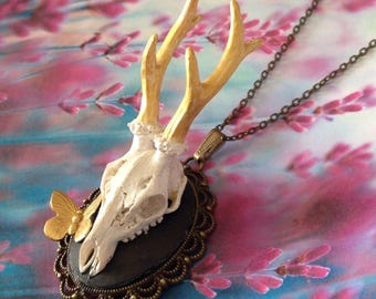 Necklace deer horns Golden and Butterfly