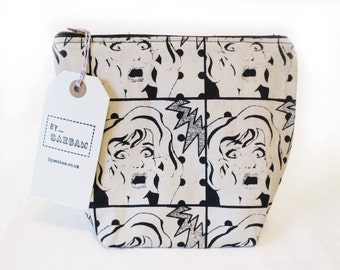 Make Up Bag, Screen Printed  Pop Art Design, Toiletry Bag, Travel Pouch