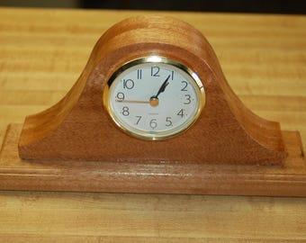 Small hand made mahogany mantle clock