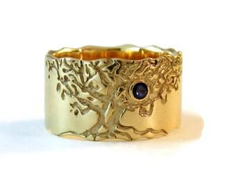 sapphire gold ring, blue sapphire ring, Blue sapphire band, tree engagement ring, Wedding tree ring, gold tree ring, Tree of life ring