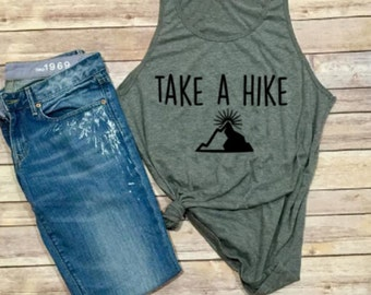 Take A Hike Tank - Hike- Hiking Shirt - Mountains - Women's Tank - Unisex Adult Clothing - Woman's Shirt - Camping - Men's Shirt - Triblend