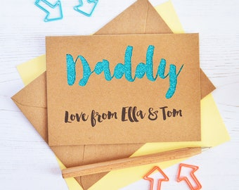 Personalised Dad Glitter Cut-out Card - Birthday Card - Father's Day Card - Personalized Birthday Card - Daddy Card - Best Dad Card