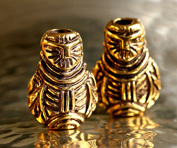 Greek Owl Bead Gold Owl Bead 24k Gold Plated Ancient