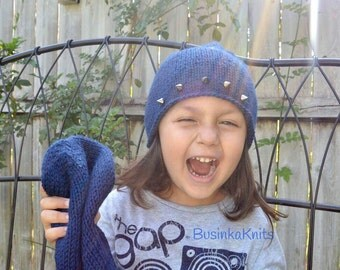 Mommy and me beanies, spiked beanies, hand knitted hat, blue beanies, matching hats, studded beanie, daddy and me beanies, navy blue beanies