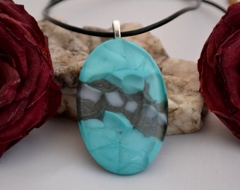 fused glass, heart shaped, teal, gray and white pendant,  handmade, kiln fired