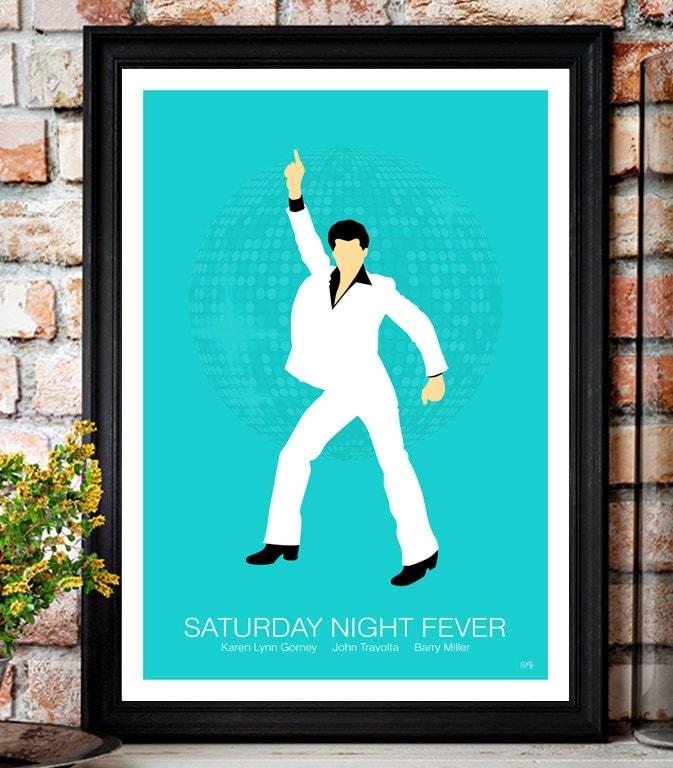 Saturday Night Fever // John Travolta // Minimalist Movie Poster // Unique A4 / A3 Art Print