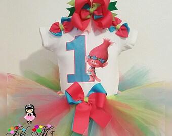 Poppy Troll Tutu, poppy troll tutu, poppy troll birthday tutu outfit, poppy tutu, poppy tutu outfit, poppy troll dress, trolls tutu