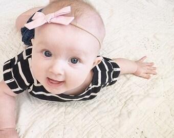 baby bow headband, infant bow headband, newborn headband, baby headband, bow headband, baby headbands. BABY PINK Schoolgirl Bow