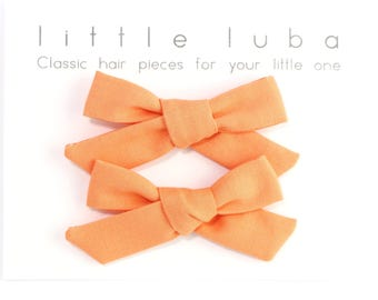 Schoolgirl Bow, toddler bows, Baby Bows, Toddler Bow Clips, Baby Bow Clip, Girls Pigtail Set, Pigtail Bow Set. ORANGE Schoolgirl Pigtail Set