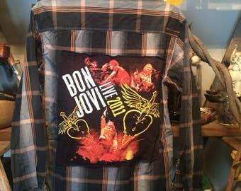 Bon Jovi Upcycled Flannel