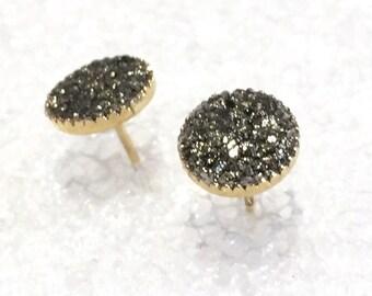 Raw Pyrite Stud Earrings