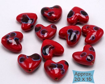 Hand Painted Red Heart Ceramic Beads from Cambodia--1 Pc | H-LB-1