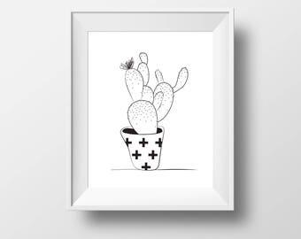 Cactus print - Boho cactus  - minimalist cactus art - cactus art gift - Cacti print - black and white cactus - prints
