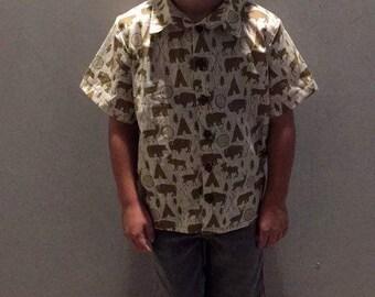 Boys Button Up Shirt Riley Blake High Adventure Fabric