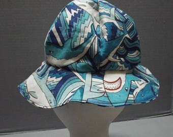 Reversible Toddler, Child's Sun or Bucket Hat Sharks Fabric