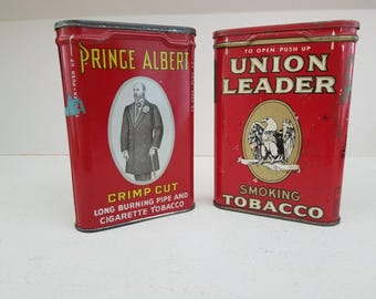 Vintage Smoking Tobacco Tin Cans - Prince Albert, Union Leader