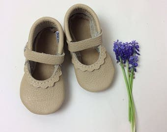 Oatmeal Mary Janes Leather Baby Moccasins, tstrap, Soft Soles, Crib Shoes,  leather mary janes, baby moccs, toddler moccasins,